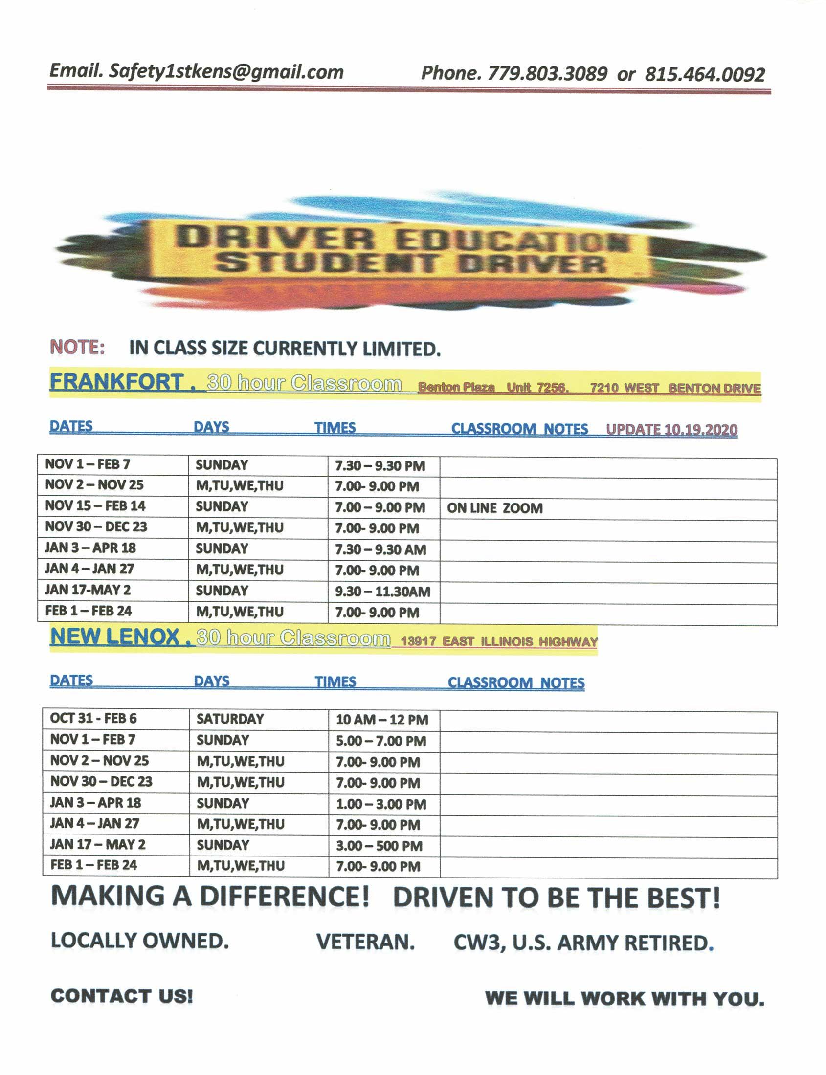 Ken's Driving School - Calendar Schedule October 2020